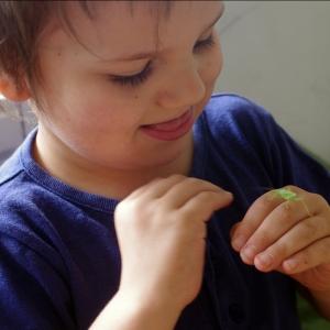 Maťošek krotí zeleného koníčka.