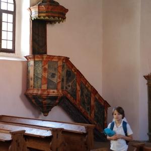 Dřevěná kazatelna, toleranční kostelík, Humpolec.